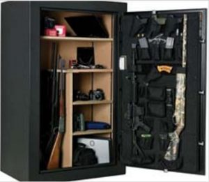 a green open gun safe with guns and supplies inside